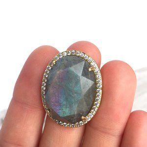 Large Labradorite gemstone CZ adjustable Gold Ring